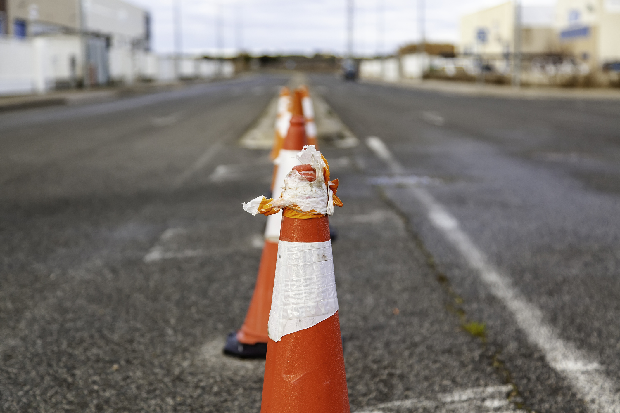 road hazard cones, car accident on construction site